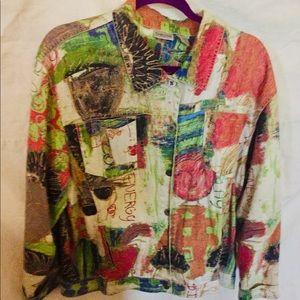Chico art jacket. Size 3. Gorgeous. Unusual.